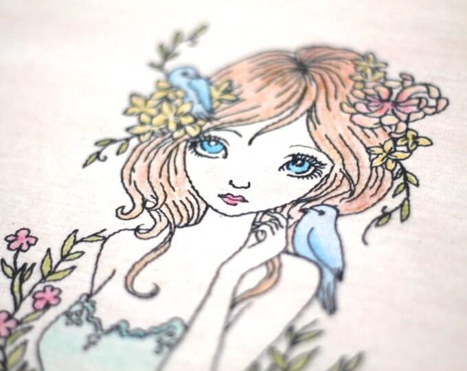 Machine Embroidery Whimsical Bohemian Beauty Girl Machine Embroidery File design 5x7 hoop