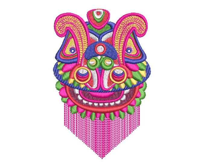 Chinoiserie Chic - Lion Dance Head - Machine Embroidery File design  - 4x4 hoop - Lunar New Year
