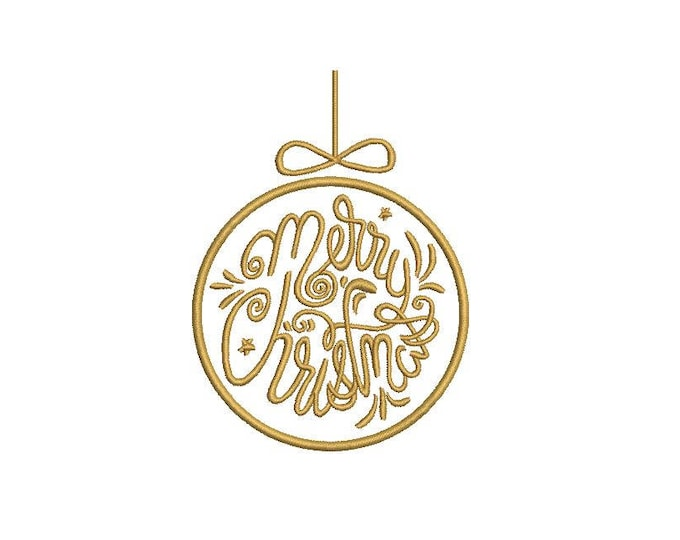 Merry Christmas Bauble Embroidery - Ornament Silhouette Machine Embroidery File design 4x4 inch hoop
