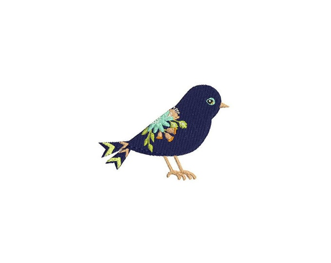Floral Bird Machine Embroidery File design 4 x 4 inch hoop Flowers - instant  download