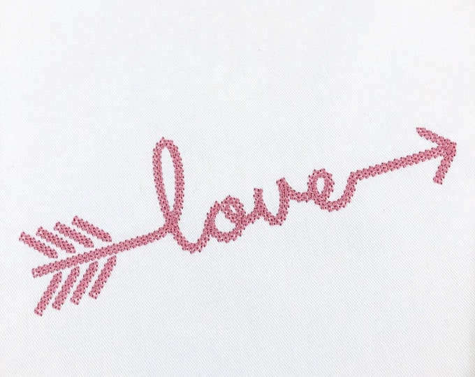 Chainstitch Love Arrow Machine Embroidery File design - 5 x 7 inch hoop - instant download