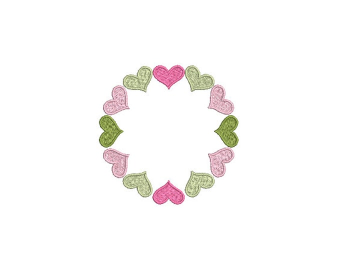 Heart Frame Machine Embroidery File design -  4 x 4 inch hoop - Embroidery Monogram Frame