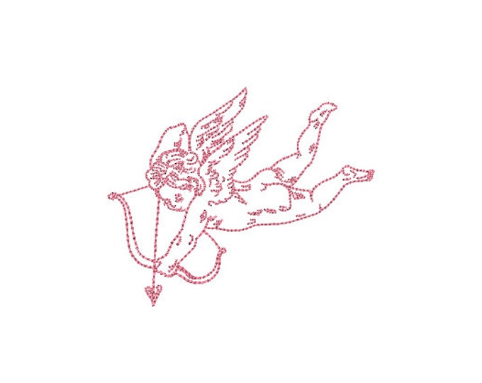 Vintage Cupid Machine Embroidery File design - 4x4 inch - valentines embroidery design - Love embroidery