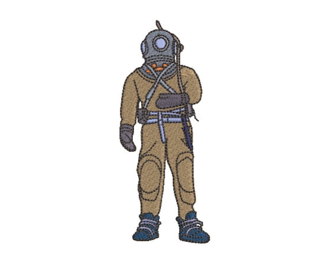 Vintage Deep Sea Diver - Machine Embroidery File design - 4x4 inch hoop - Ocean Embroidery - Nautical Embroidery Design