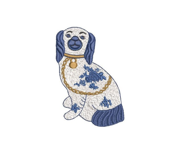 Chinoiserie Chic - Blue Willow Spaniel Dog  - Machine Embroidery File design  - 4x4 hoop