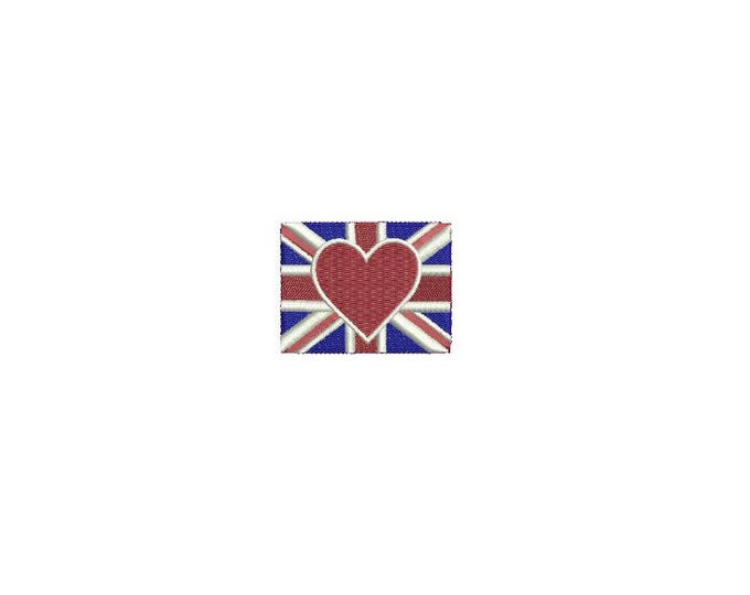 Union Jack Flag Heart Mini 5cm - Machine Embroidery File design 4 x 4 inch hoop - love