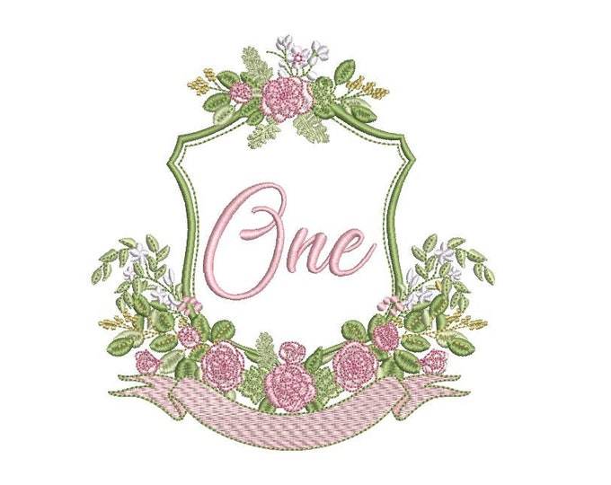 Austin Rose Crest - Machine Embroidery File design - 5x7 inch hoop - Monogram Frame - First Birthday Embroidery