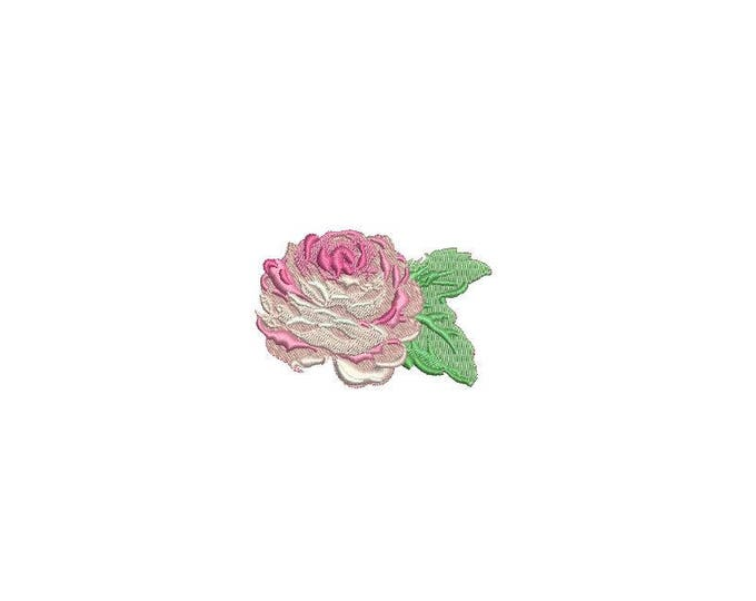 Pinky Rose Mini Machine Embroidery File design 6cm - 4 x 4 inch hoop - Rosette - Rose Silhouette