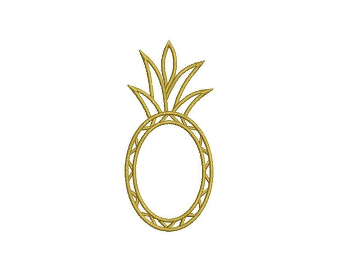 Pineapple Embroidery Frame - Machine Embroidery Bamboo Pineapple Frame Embroidery File design 4x4 hoop