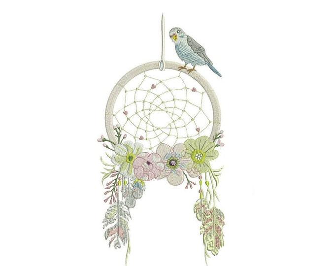 Whimsical Bird Dreamcatcher Machine Embroidery File design 6x10 inch hoop