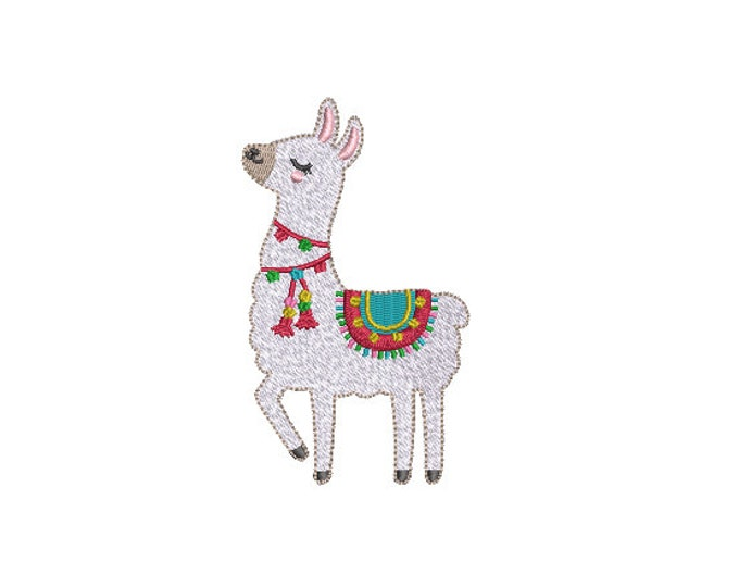 Llama Tassels Machine Embroidery File design - 4x4 inch hoop - instant download - Xmas Design