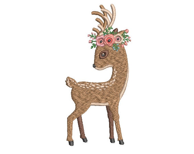 Deer & Flowers Embroidery - Machine Embroidery File design - 4x4 inch hoop - Fawn Embroidery Design