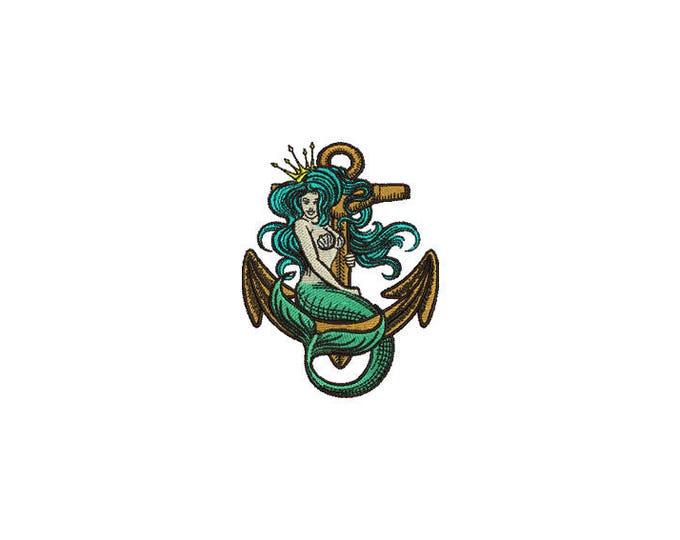 Machine Embroidery Anchor Mermaid Tattoo Machine Embroidery File design 4x4 inch hoop