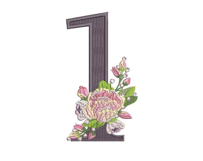Number 1 - ONE - Bouquet - First Birthday-  Machine Embroidery File design - 5x7 hoop - embroidery design - instant download