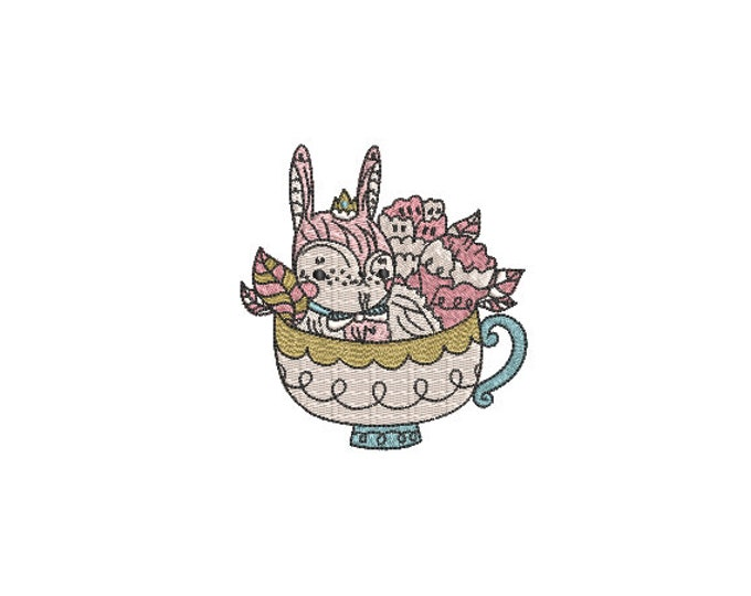 Machine Embroidery - Bunny Teacup- Embroidery File design - 4x4 inch hoop - Rabbit Embroidery