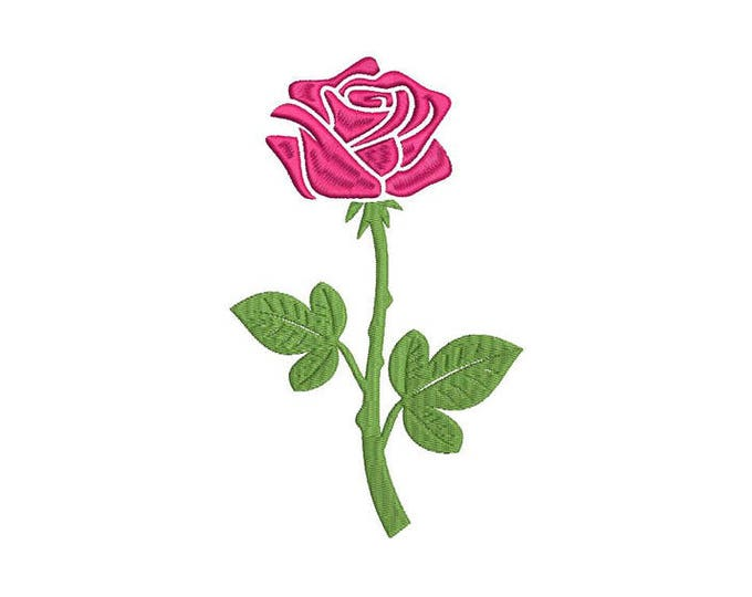 Rose Embroidery - Rose Stem Machine Embroidery File design 5 x 7 inch hoop - Silhouette