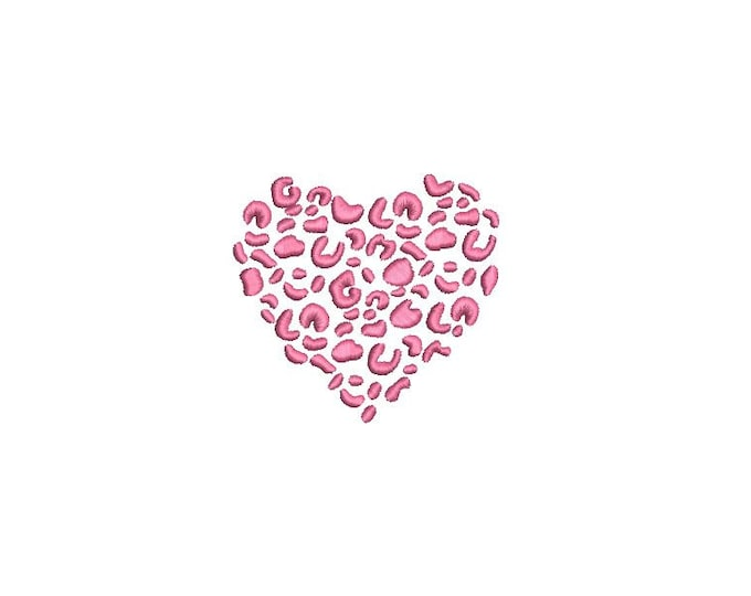 Leopard Heart - Machine Embroidery File design - 4 x 4 inch hoop - 8cm mini - Loveheart embroidery
