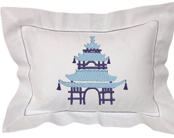 Chinoiserie Chic Monogram - Pink Pagoda Machine Embroidery File design - 8x12 inch hoop