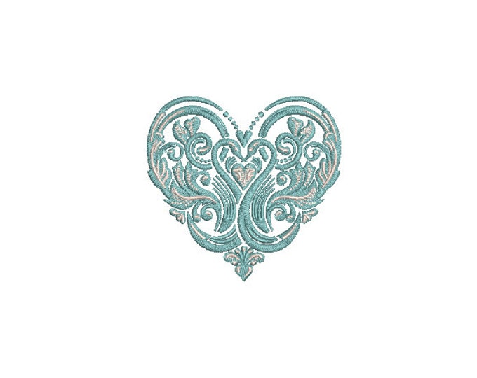 Victorian Swans Heart Machine Embroidery File design -  4 x 4 inch hoop - Lace Heart Design