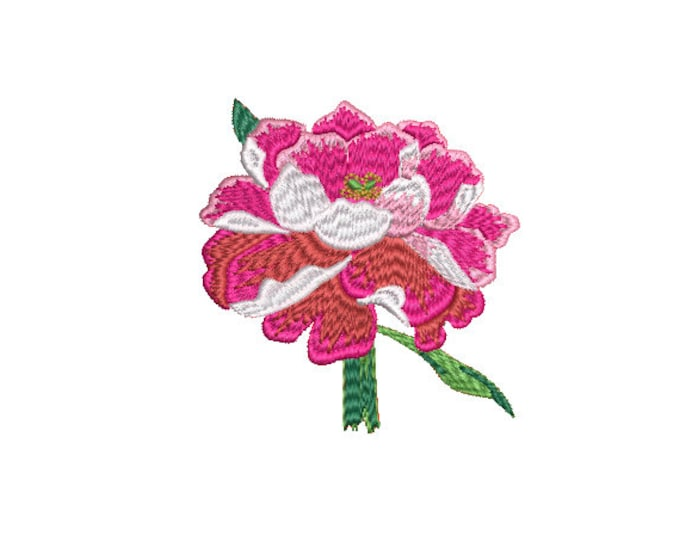 Peony Hand Embroidery Style - Machine Embroidery File design - 4 x 4 inch hoop - Instant Download