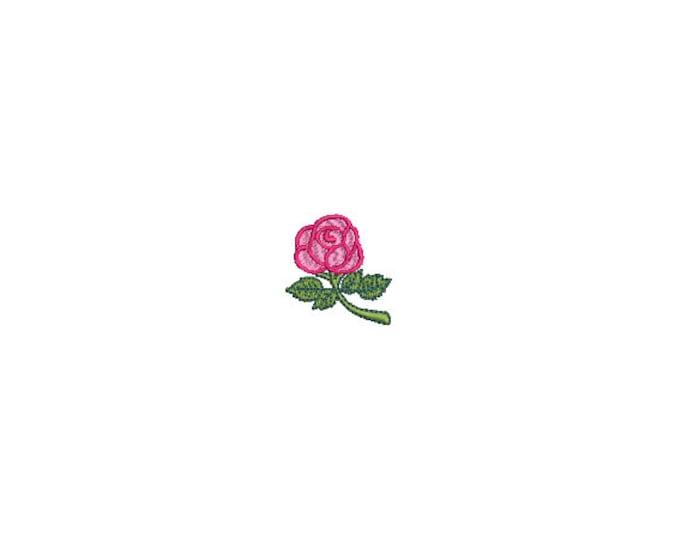 Mini Rose Stem Embroidery File design - 4 x 4 inch hoop  - instant download - 3cm - Rose design
