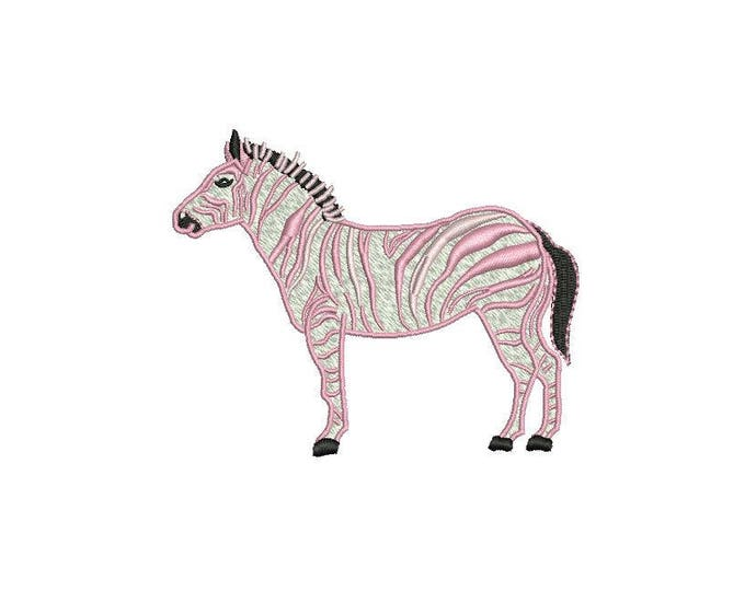 Pink Zebra Chinoiserie Modern Machine Embroidery File design 4x4 inch hoop - Instant download