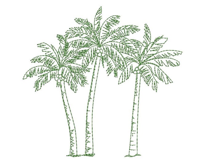 Coconut Palms -  Machine Embroidery File design - 6 x 10 inch hoop - Palm Tree