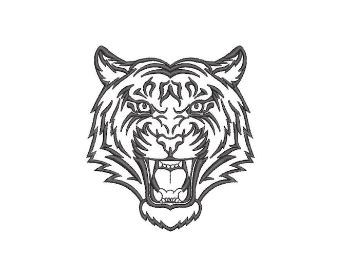Tiger Embroidery Design - Tiger Head Machine Embroidery File design 4x4 inch hoop - Tiger Face - instant download