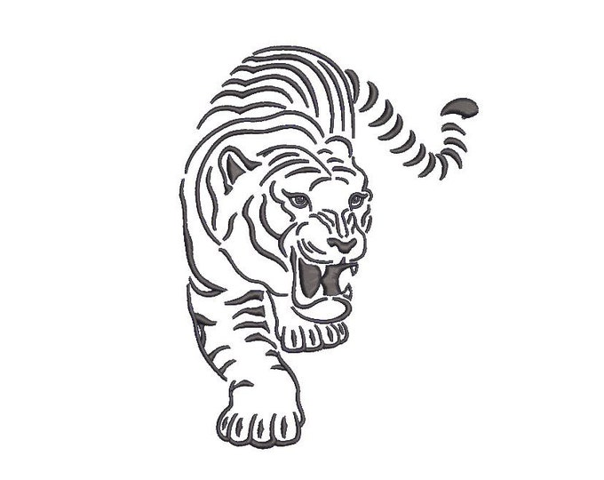 Tiger Embroidery Design - Tiger Sketch Machine Embroidery File design - 5x7 inch hoop - one colour - instant download