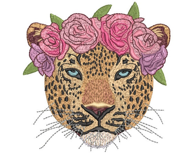 Leopard Flower Crown Machine Embroidery File design - 5x7 inch hoop - Leopard Face - instant download