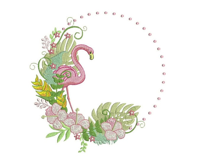 Flamingo Embroidery - Tropical Flamingo Wreath Flowers Bohemian Machine Embroidery File design 5x7 hoop - instant download