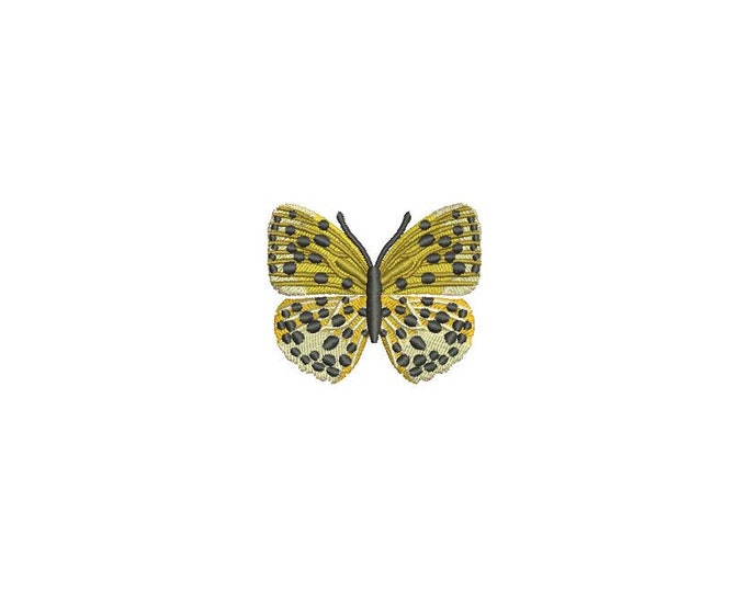 Yellow Butterfly 5 Machine Embroidery File design 4x4 inch hoop - Mini 5cm