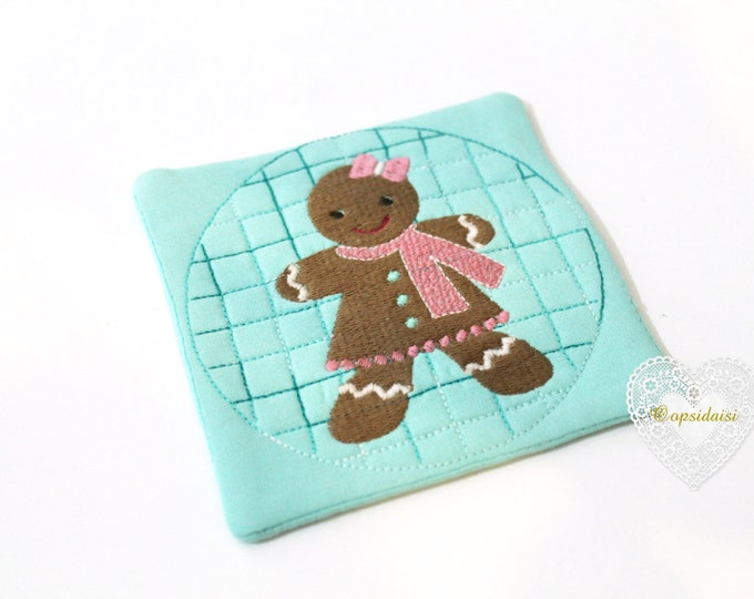 Gingerbread Girl Coaster Mug Rug Christmas ITH Machine Embroidery File design 5x7 inch hoop