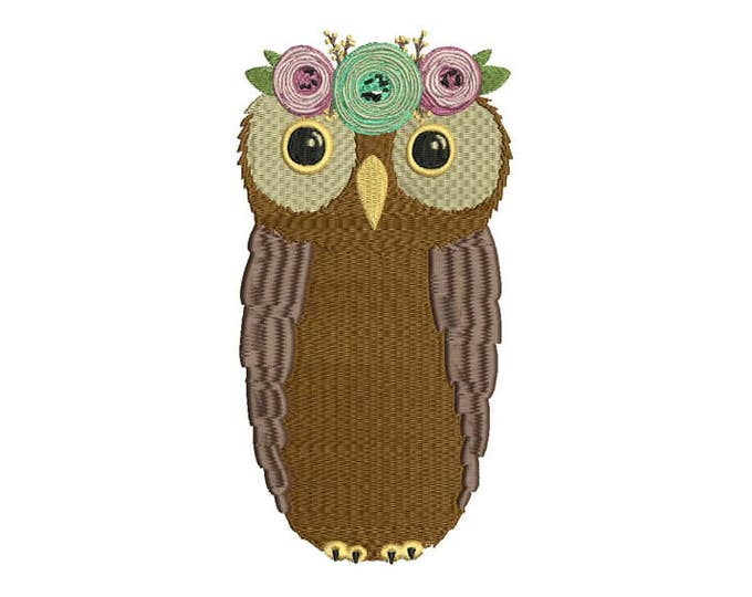 Owl Flower crown Machine Embroidery File design 5x7 inch hoop - instant download