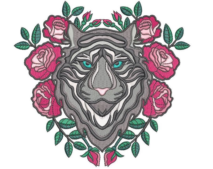 Tiger Embroidery Design - Black Tiger & Roses Tattoo Machine Embroidery File design  - 6x10 inch hoop - Instant download