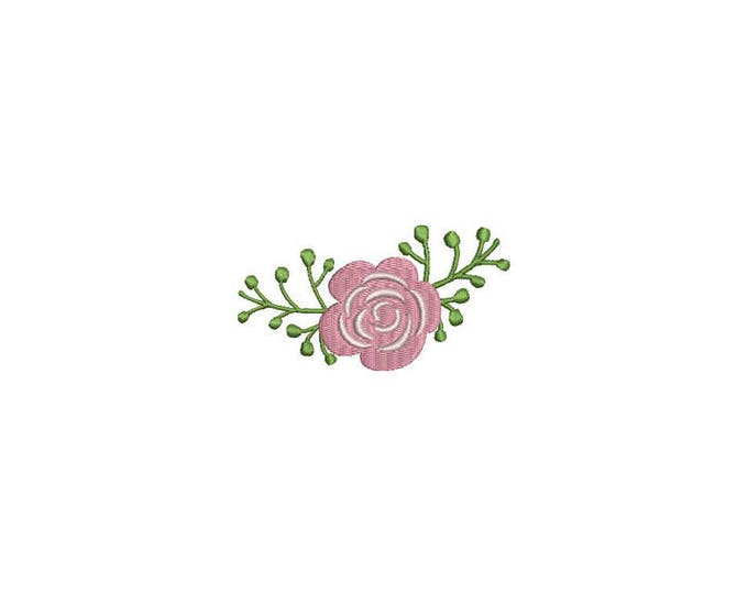 Pink Rose Machine Embroidery File design 4 x 4 inch hoop - Tri Colour Rose
