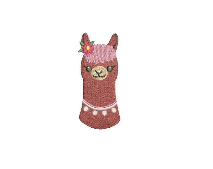 Llama Face 1 Alpaca Machine Embroidery File design 4x4 inch hoop
