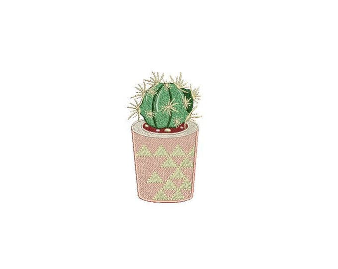 Kawaii Cactus 2 Machine Embroidery File design 4 x 4 inch hoop Makes a great Patch