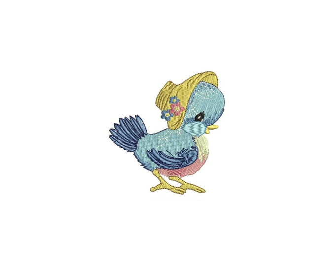 Machine Embroidery Vintage Bluebird With Bonnet Machine Embroidery File design 4 x 4 inch hoop