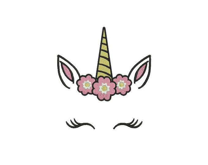 Unicorn Embroidery Design - Machine Embroidery Unicorn Face Flowers Machine Embroidery File design 5x7 inch hoop