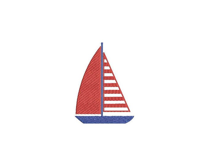 Sailboat Nautical Machine Embroidery File design 4x4 inch hoop - Silhouette Boat