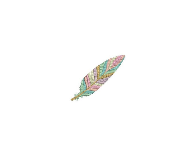 Whimsical Pastel Boho Feather Machine Embroidery File design 4 x 4 inch hoop