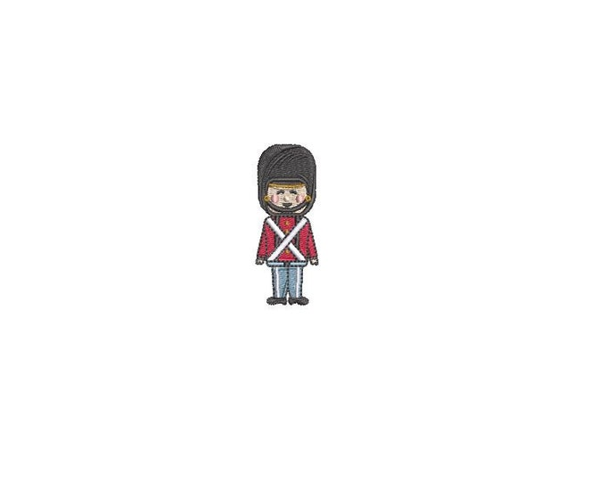 Mini London Toy Soldier Design Machine Embroidery File design 4 x 4 inch hoop - Instant download