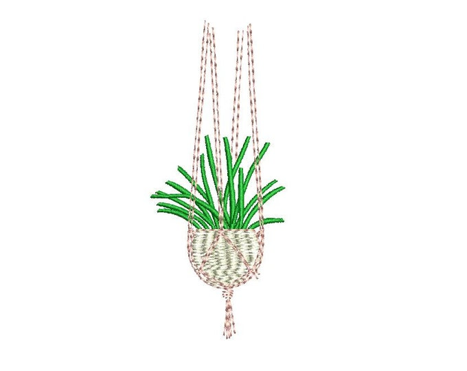 Hanging Macrame Plant Machine Embroidery File design 4 x 4 inch hoop