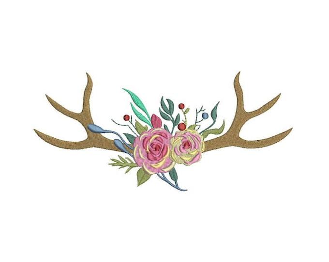 Boho Rose Antlers Boho Machine Embroidery File design 8x12 inch hoop Flower Antlers