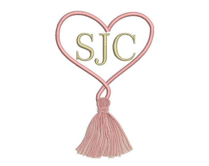 Twisted Heart Tassel Monogram Frame - Machine Embroidery File design 5 x 7 inch hoop - love