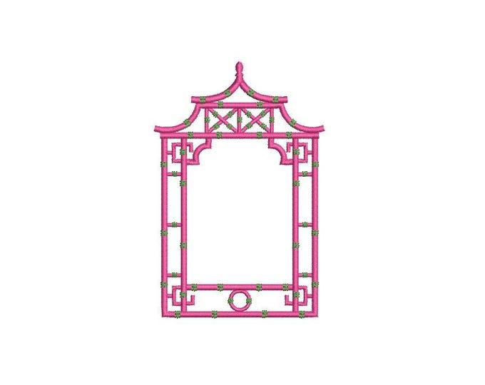Chinoiserie Chic Monogram Pagoda Frame #2 Machine Embroidery File design 4x4 hoop