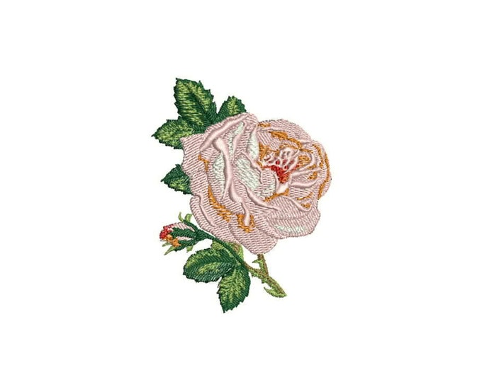 Whimsical Rose and Rosebud Machine Embroidery File design 4 x 4 inch hoop ITH