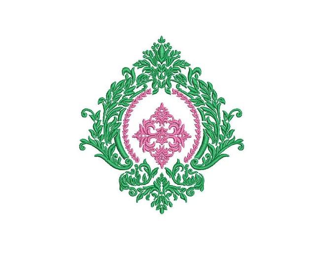 Satin Damask Crest - Machine Embroidery File design  - 4x4 inch hoop - Monogram Frame - Instant download