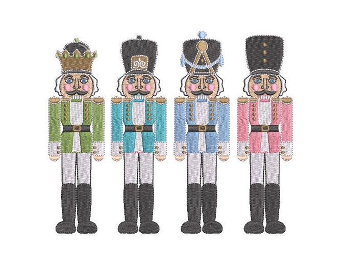 Nutcracker Soldiers Christmas embroidery  - Xmas Machine Embroidery File design - 6x10 inch hoop - instant download